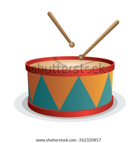 Drum vector isolated on white