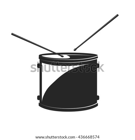 Drum with Drumsticks. Isolated. Vector Illustration - stock vector