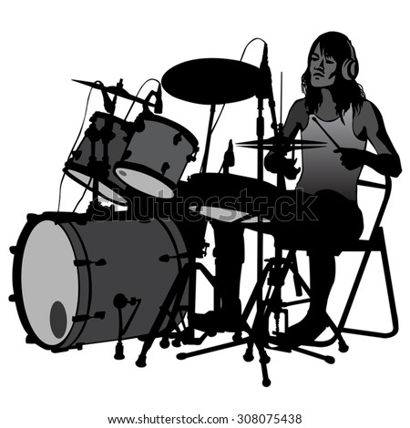 Drummer beating the drums on stage. Drum set. silhouette, vector.   - stock vector