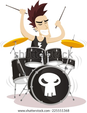 Drummer playing drums illustration - stock vector