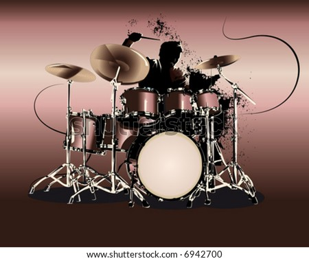 drummer solo - stock vector