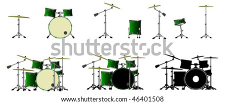 Drums and drumsets - stock vector