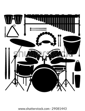 Drums, cymbals, and percussion instruments in vector silhouette - stock vector