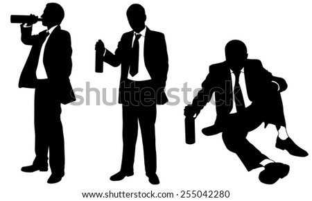drunk businessmen silhouettes isolated - stock vector