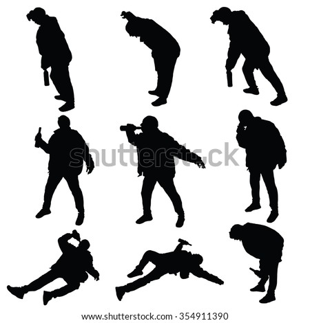 drunk man vector silhouette illustration - stock vector