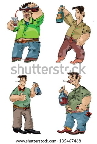 drunk men - cartoon - stock vector