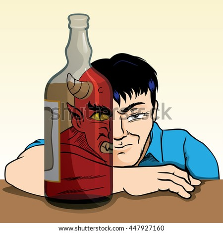 drunk person turning into a demon due to alcohol trough of alcohol and can see the alter ego of man. Ideal for awareness campaigns