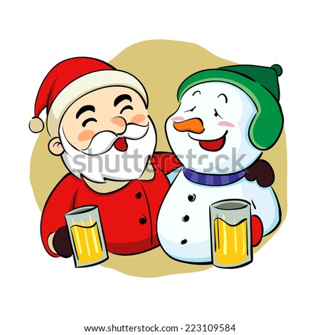 Drunk Santa Claus and snowman - stock vector