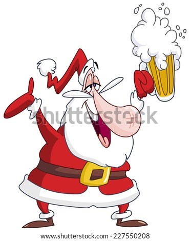 Drunk Santa Claus with beer - stock vector