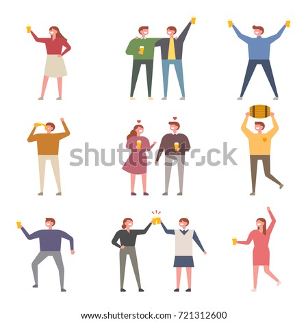 drunken people tall ratio character vector illustration flat design