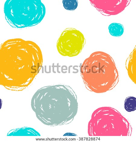 Dry brush hand drawn sketch artsy background, seamless pattern in bright happy  colours, messy grunge brush strokes, circles and swirls on white background.
