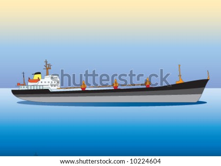 Dry cargo ship on the ocean - stock vector