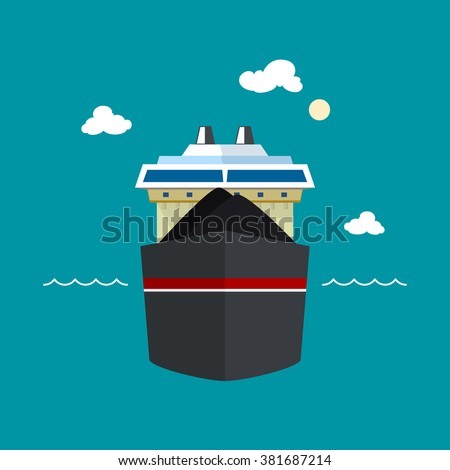 Dry Cargo Ship Transports Coal, Front View of a Bulk Carrier,  Vector Illustration - stock vector