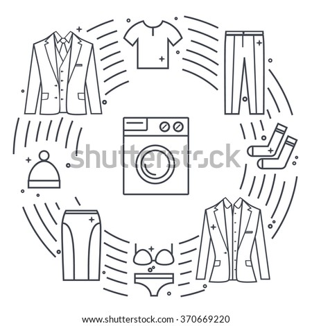 Dry-cleaning and laundry vector objects. Line icon illustration. Unique vector concept with different clothes elements: washer, jacket, skirt, hat, socks, t-shirt. - stock vector