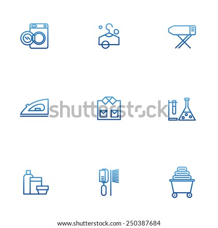 Dry-cleaning vector icons, laundry objects  - stock vector