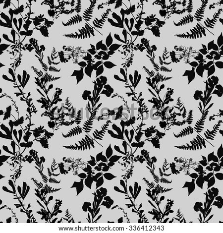 Dry herbarium plants seamless pattern on gray background with flowers and leaves, vector illustration