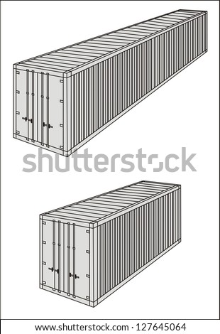 Dry/standard/containerized cargo container line drawing - international maritime trade black and white vector illustration (part 1) - stock vector
