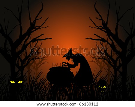 dry tree branch background with witch boiling poison, pumpkin - stock vector