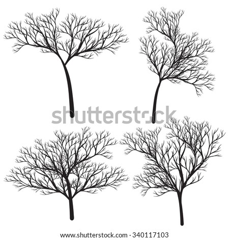 Dry trees black collection vector illustration for garden design and more.