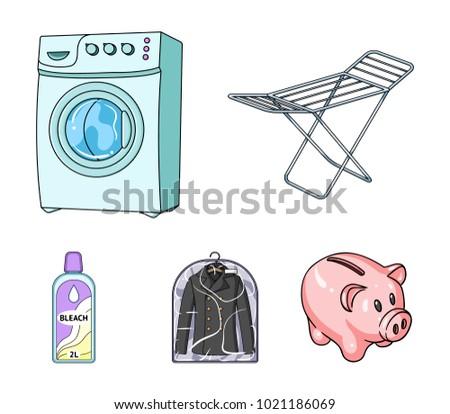 Dryer Washing Machine Clean Clothes Bleach Stock Vector 1021186069