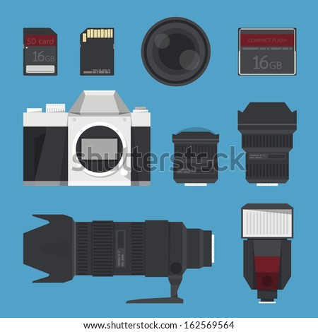 DSLR digital camera accessories. vector - stock vector
