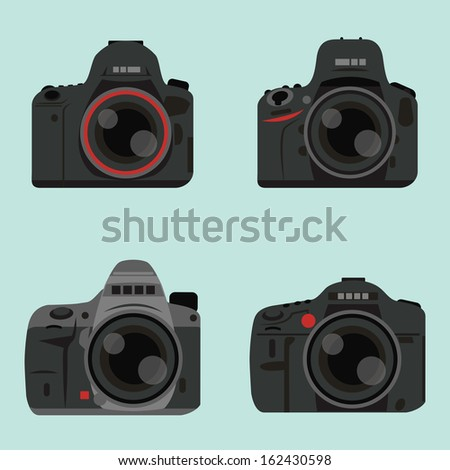 DSLR digital camera icon design, vector - stock vector