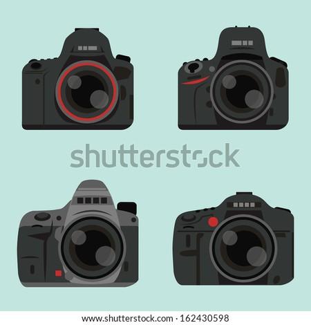 DSLR digital camera icon design, vector - stock vector