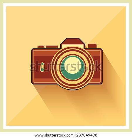 DSLR Professional Camera Icon On Retro Vintage Background vector - stock vector
