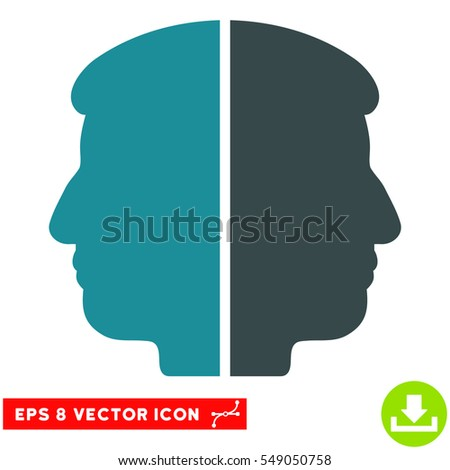 Dual Face EPS vector icon. Illustration style is flat iconic bicolor soft blue symbol on white background.