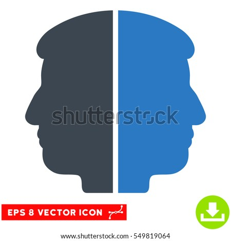 Dual Face EPS vector pictogram. Illustration style is flat iconic bicolor smooth blue symbol on white background.