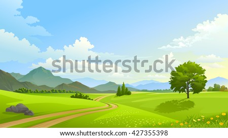 Dual lane path across vast and beautiful grasslands