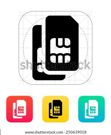 Dual SIM cards icon. Vector illustration. - stock vector