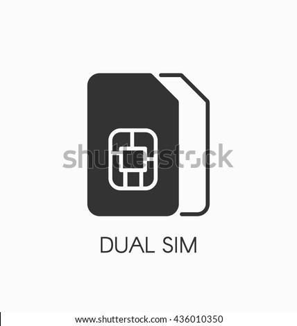 Dual SIM icon vector. Double sim card sign. - stock vector