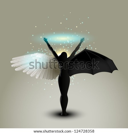 Dualism concept, good and evil, eps10 vector - stock vector