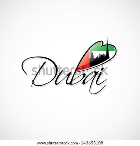 Dubai caption with flag and skyline of the City - vector illustration - stock vector