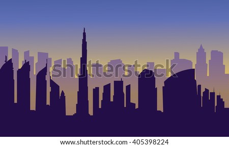 Dubai city of silhouette at the afternoon