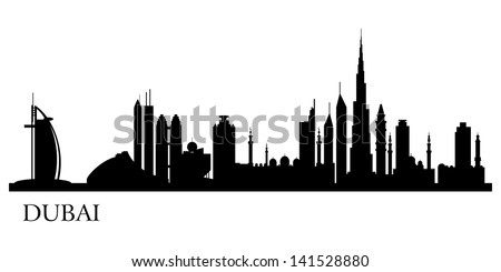 Dubai city silhouette. Vector skyline illustration - stock vector