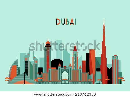 Dubai City skyline detailed silhouette. Flat design, trendy vector illustration. - stock vector