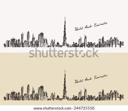 Dubai City skyline detailed silhouette. Hand drawn, engraved vector illustration - stock vector