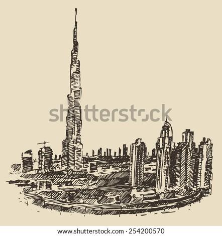 Dubai City skyline silhouette. Hand drawn, engraved vector illustration. - stock vector
