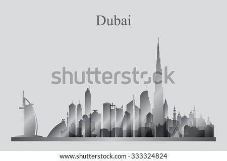 Dubai city skyline silhouette in grayscale, vector illustration - stock vector
