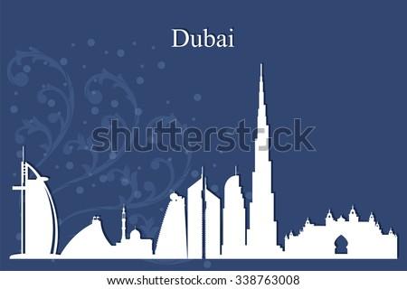 Dubai city skyline silhouetteon blue background, vector illustration - stock vector