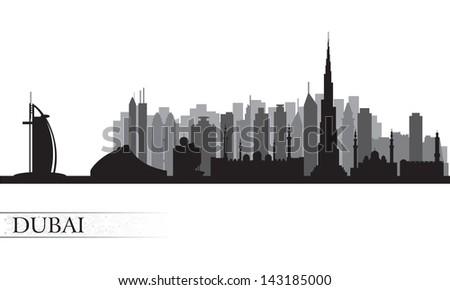 Dubai city skyline. Vector silhouette illustration - stock vector