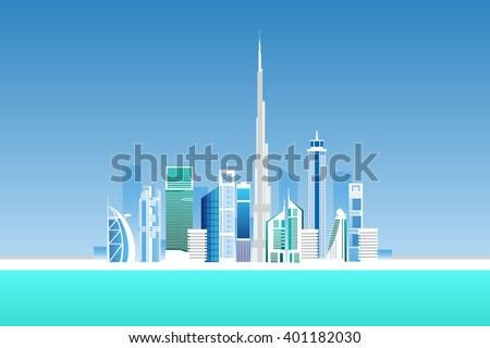 Dubai cityscape with skyscrapers and landmarks vector illustration - stock vector