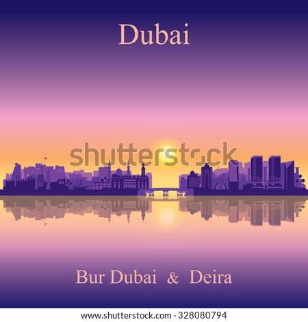 Dubai Deira and Bur Dubai skyline silhouette background, vector illustration - stock vector
