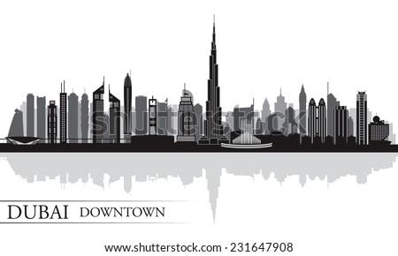 Dubai Downtown City skyline silhouette background, vector illustration  - stock vector