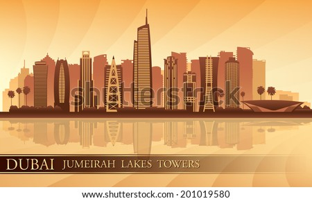 Dubai Jumeirah Lakes Towers skyline silhouette background, City illustration  - stock vector