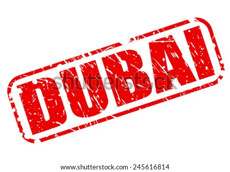 Dubai red stamp text on white - stock vector