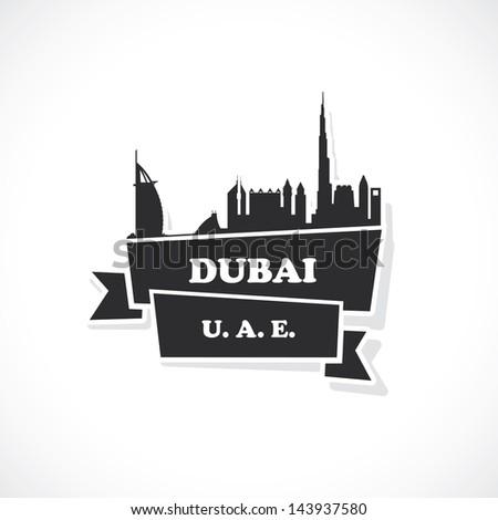 Dubai ribbon sticker - vector illustration - stock vector