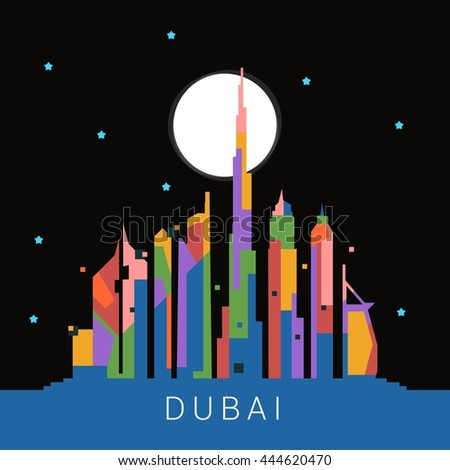Dubai Skyline Landmark city vector illustration.